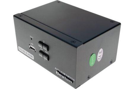 KVM 2 ports double écran HDMI 4K / USB 2.0 + câbles