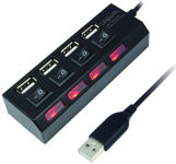 LogiLink Hub USB 2.0, 4 ports, avec un interrupteur, noir