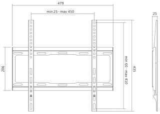 LogiLink Support mural pour TV, plat, pour 81,28 - 139,7 cm