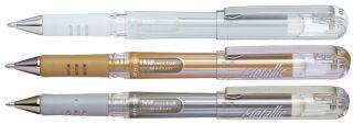 Pentel Roller gel K230, présentoir de 36, or, argent & blanc
