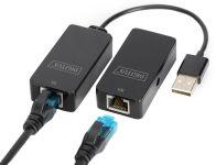 DIGITUS Kit extenseur USB 2.0, adapté pour PoE, noir