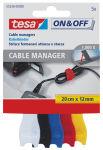 tesa On & Off Serre-câbles velcro Cable Manager small,coloré