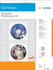 HERMA pochette perforée CD/DVD pour 2 CD, A4, PP,transparent
