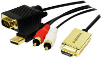 LogiLink Convertisseur HDMI vers VGA/audio, 2 m, noir