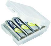 ANSMANN Boîte à piles à 4 compartiments, boîte de rangement