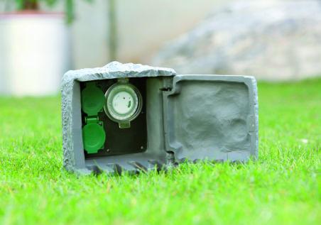 uniTEC Multiprises pour jardin 'Effet pierre', 2 prises