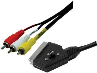 LogiLink Câble péritel, péritel mâle - 3x RCA mâle, 2,0 m