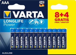 VARTA Pile alcaline 'LONGLIFE Power', micro (AAA), 8+4