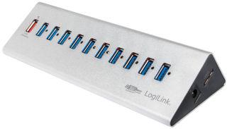 LogiLink Hub USB 3.0 avec bloc d'alimentation,10 ports +