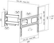 LogiLink Support mural pour TV Full Motion, pour 96,98 -