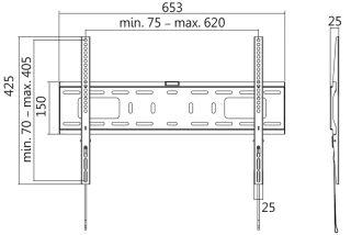 LogiLink Support mural pour TV, plat, pour 96,98 - 177,8 cm
