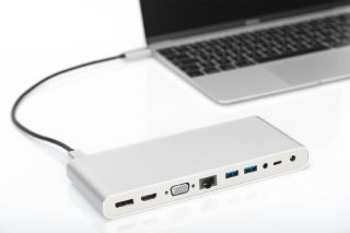 DIGITUS Docking Station universelle, USB-C, alu, argent