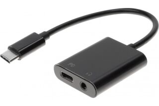 Adaptateur USB Type-C vers prise casque stéréo 3.5 mm avec PowerDelivery 2.0