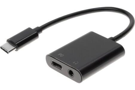 Adaptateur USB Type-C vers prise casque stéréo 3.5 mm avec alimentation