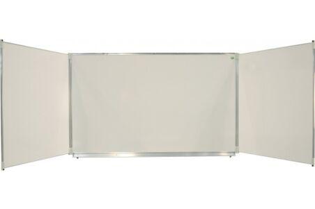 Tableau émail triptyque classic 120x200 cm blanc projection + volets feutre AG+