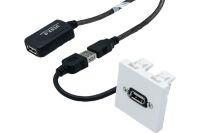 Plastron 45 x 45 avec câble USB amplifié coudé - 15 m
