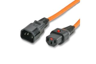 IEC-LOCK Rallonge d'alim IEC C14 vers IEC C13 à verrouillage orange - 3,0 m