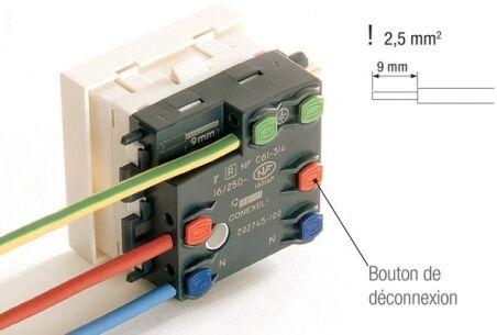 REHAU PRISE ELECTRIQUE SIMPLE 2P+T 45x45 BLANC
