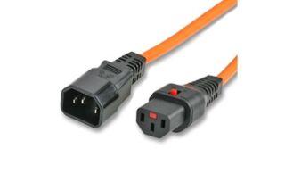 IEC-LOCK Rallonge d'alim IEC C14 vers IEC C13 à verrouillage orange - 2,0 m