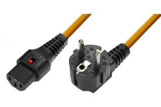IEC-LOCK Cordon d'alimentation CEE7 / C13 à verrouillage orange - 3,0 m