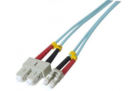 Jarretière optique duplex HD multi OM3 50/125 SC-UPC/LC-UPC aqua - 30 m