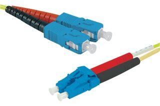 Jarretière optique duplex HD mono OS2 9/125 SC-UPC/LC-UPC jaune - 50 m