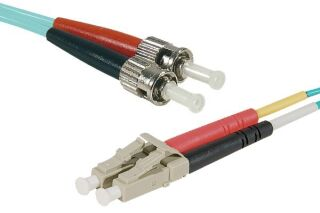 Jarretière duplex HD OM3 LC-UPC/ST-UPC aqua - 15 m