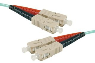 Jarretière optique duplex HD multi OM3 50/125 SC-UPC/SC-UPC aqua - 50 m