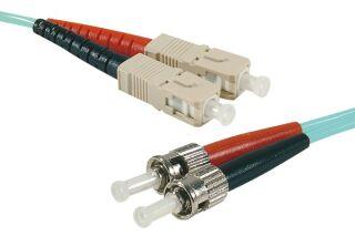 Jarretière optique duplex HD multi OM3 50/125 ST-UPC/SC-UPC aqua - 15 m