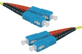 Jarretière optique duplex HD mono OS2 9/125 SC-UPC/SC-UPC jaune - 50 m