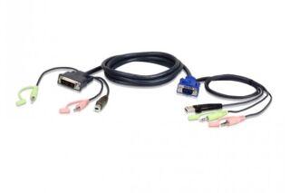 ATEN 2L-7DX2U CABLE KVM DVI/USB/Audio pour PC VGA/USB/Audio