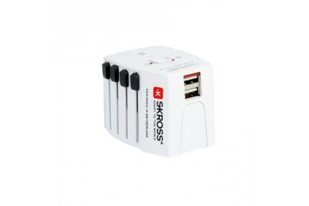 SKROSS MUV USB Adaptateur secteur bipolaire de voyage multi-pays 2 ports USB