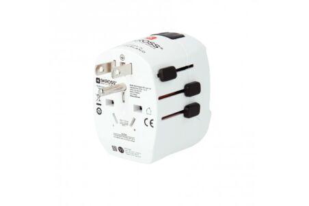 SKROSS PRO LIGHT USB Adaptateur secteur tripolaire multi-pays 2 ports USB