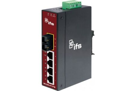 IFS MC250-4T/1FM Convertisseur Indust. Fibre 100FX SC 2Km - 4 ports 10/100