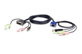 ATEN 2L-7DX3U CABLE KVM DVI/USB/Audio pour PC VGA/USB/Audio