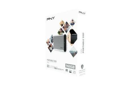 PNY Disque SSD externe Elite USB 3.1 Gen1 960 Go gris