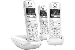 Gigaset AS690 TRIO téléphone DECT blanc - base + 3 combinés