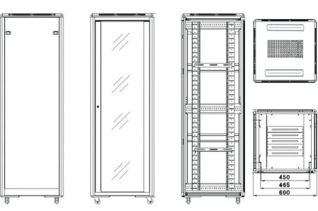 Baie de brassage CAB-400 Series 32U 600 x 800 (noir) version kit