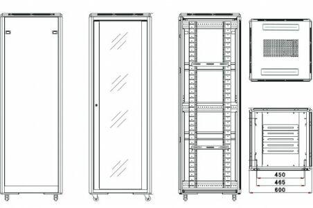 Baie de brassage CAB-400 Series 42U 600 x 800 (noir) version kit