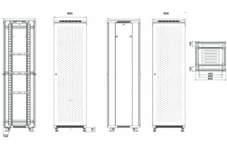 Baie serveur SRV-800 Series 42U 600 x 1000 (noir) version kit