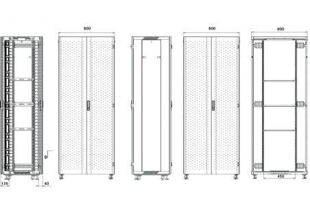 Baie serveur SRV-800 Advanced Series 27U 800 x 1000 (noir)