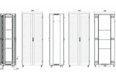 Baie serveur SRV-800 Advanced Series 42U 800 x 1200 (noir)