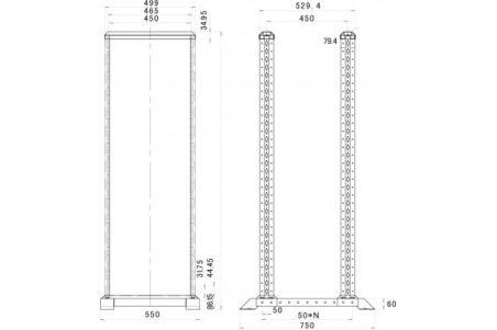 Bâtirack double OPEN-2 22 U (noir) en kit