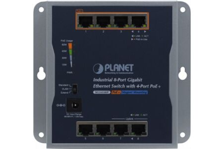 PLANET WGS-814HP Switch indust. mural 8 Giga dont 4 PoE+ avec alim.