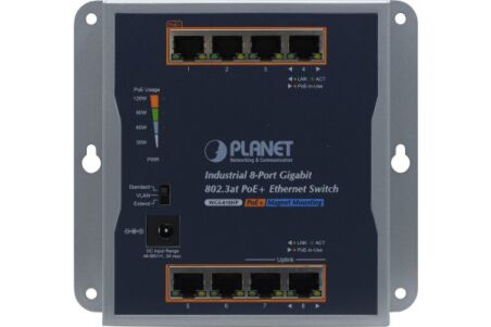 PLANET WGS-818HP Switch indust. mural 8 Gigabit PoE+ -20/60° avec alim