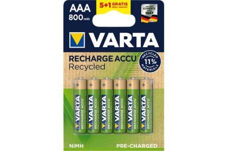 VARTA Piles rechargeables recyclées AAA 5 + 1 offerte