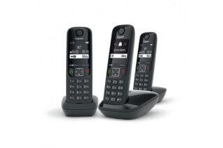 Gigaset AS690 TRIO téléphone DECT noir - base + 3 combinés